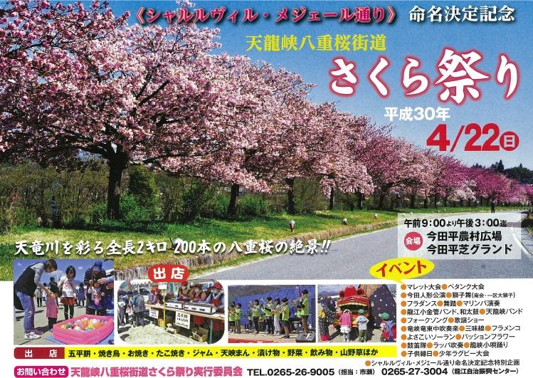 天龍峡八重桜街道さくら祭り